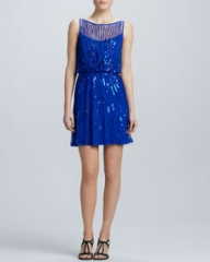 Aidan Mattox Boat-Neck Sequined Cocktail Dress at Neiman Marcus