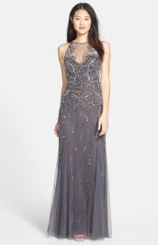 Aidan Mattox Embellished Mesh Gown at Nordstrom