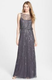 Aidan Mattox Illusion Yoke Sequin Mesh Gown in Grey at Nordstrom