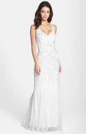 Aidan Mattox Sleeveless Embroidered Mesh Gown at Nordstrom
