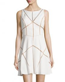 Aidan Mattox Sleeveless Mesh-Inset Cocktail Dress Ivory at Neiman Marcus