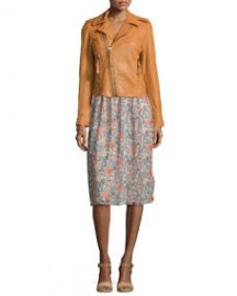 Ailey Paper-Weight Leather Moto Jacket  Honey at Neiman Marcus