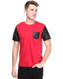 Akademiks Cooper Faux Leather Sleeve Tee at Dr Jays