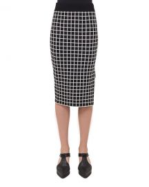 Akris punto Grid-Print Pencil Skirt at Neiman Marcus