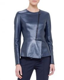 Akris Asymmetric Peplum Leather Jacket Azurite at Neiman Marcus