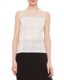 Akris Floral Lace Sleeveless Blouse at Neiman Marcus