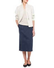 Akris Structured Linen-Blend Jacket Scoop-Neck Top and Long Denim Pencil Skirt at Neiman Marcus