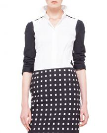 Akris punto Colorblock Panel-Sleeve Blouse NoirCreme at Neiman Marcus