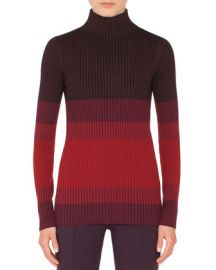 Akris punto Turtleneck Long-Sleeve Tricolor Ribbed Wool Sweater at Neiman Marcus