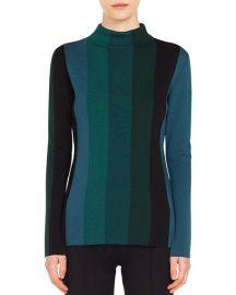 Akris punto Turtleneck Slit Long-Sleeve Striped Wool Knit Top at Neiman Marcus