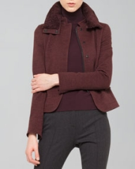 Akris punto Wool Jersey Jacket with Detachable Fur Collar Wine at Neiman Marcus