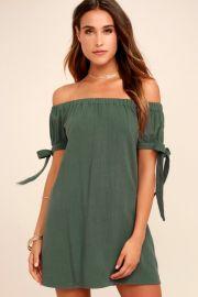 Al Fresco Evenings Olive Green Off-the-shoulder Dress at Lulus