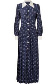 Alessandra Rich   Pleated polka-dot silk crepe de chine midi dress at Net A Porter