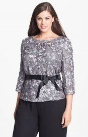 Alex Evenings Satin Rosette andamp Embellished Lace Top at Nordstrom