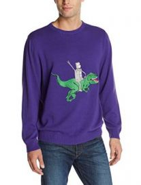 Alex Stevens Menand39s Robot Dinosaur Rodeo Sweater Virtual Violet X-Large at Amazon