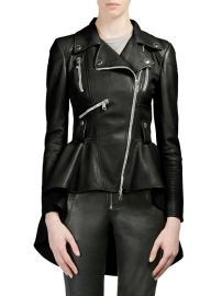 Alexander McQueen - Leather Peplum Moto Jacket at Saks Fifth Avenue