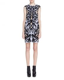 Alexander McQueen Cap-Sleeve Spine Lace Jacquard Dress  Blue at Neiman Marcus