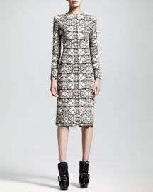 Alexander McQueen Long-Sleeve Stained Glass Sheath Dress at Neiman Marcus