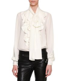 Alexander McQueen Ruffle-Front Tie-Neck Blouse  White at Neiman Marcus
