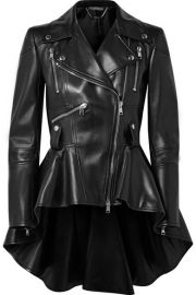 Alexander McQueen   Leather peplum biker jacket at Net A Porter