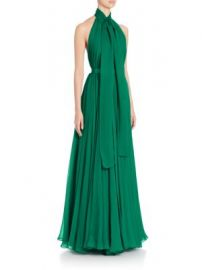 Alexander McQueen - Silk Creponne Halter Tie Neck Gown at Saks Fifth Avenue