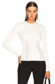 Alexander McQueen  gold eyelet rib crew neck sweater at Forward