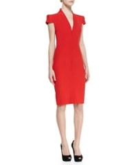 Alexander McQueen Cap-Sleeve Deep V-Neck Dress Red at Neiman Marcus