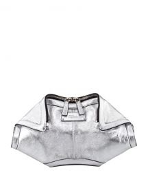 Alexander McQueen De-Manta Metallic Leather Clutch Bag  Silver at Neiman Marcus