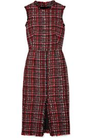 Alexander McQueen Frayed tweed midi dress at Net A Porter