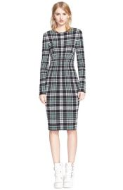 Alexander McQueen Long Sleeve Plaid Sheath Dress at Nordstrom