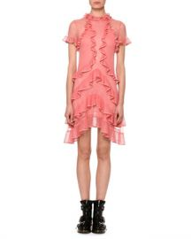 Alexander McQueen Short-Sleeve Fluid Ruffle On Lace Sheer Mini Dress at Neiman Marcus