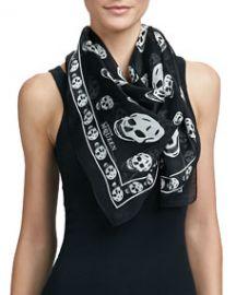 Alexander McQueen Skull-Print Silk Chiffon Scarf BlackIvory at Neiman Marcus