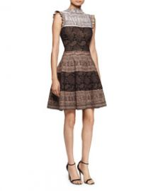 Alexander McQueen Sleeveless Fit-and-Flare Python Dress BrownMulti at Neiman Marcus
