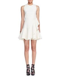 Alexander McQueen Sleeveless Ruffle-Trim Scuba Dress at Neiman Marcus