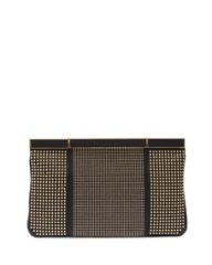 Alexander McQueen Studded Hexagon Frame Clutch Bag Black at Neiman Marcus