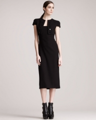 Alexander McQueen Trompe lOeil Bolero Dress in black at Neiman Marcus