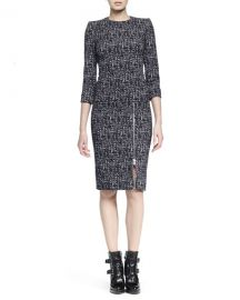 Alexander McQueen Zip-Hem Printed Sheath Dress at Neiman Marcus