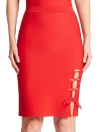 Alexander Wang - Lace-Up Slit Pencil Skirt at Saks Off 5th