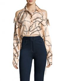Alexander Wang Cropped Cold-Shoulder Chain-Print Blouse at Bergdorf Goodman