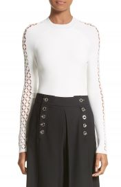 Alexander Wang Open Knit Sleeve Top at Nordstrom