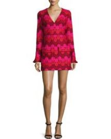 Alexis Annelise Bell-Sleeve Embroidered-Dot Minidress  Aurora at Neiman Marcus