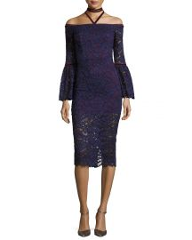 Alexis Belin Off-the-Shoulder Lace Dress w  Velvet Necktie  Navy at Neiman Marcus