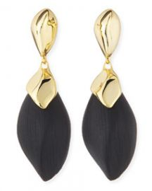 Alexis Bittar Kinshasa Liquid Metal-Capped Black Lucite Earrings at Neiman Marcus