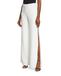 Alexis Brenda Wide-Leg Side-Slit Pants  White   Neiman Marcus at Neiman Marcus