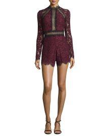Alexis Eva Long-Sleeve Lace Romper  Plum at Neiman Marcus