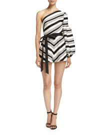 Alexis Jagger Striped One-Shoulder Romper  Black White at Neiman Marcus