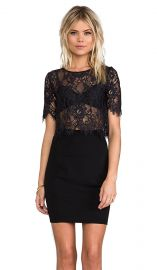 Alexis Lisette Crop Lace Top With Cap Sleeves in Black Lace  REVOLVE at Revolve