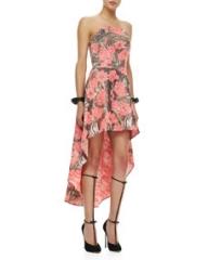 Alexis Madame Strapless High-Lo Dress Metallic Rose at Neiman Marcus