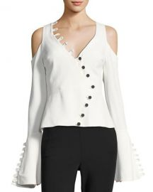 Alexis Noere Bell-Sleeve V-Neck Top with Button Trim at Neiman Marcus