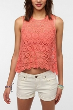 Alex's crochet tank top at Urban Outfitters